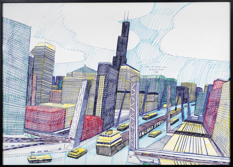 Wesley Willis (American, 1963-2003). The Chicago Skyline, Sears Tower, Chicago River…, 1986. Ballpoint pen and felt tip pen on board, 28 x 42 in. (71.12 x 106.68 cm.)