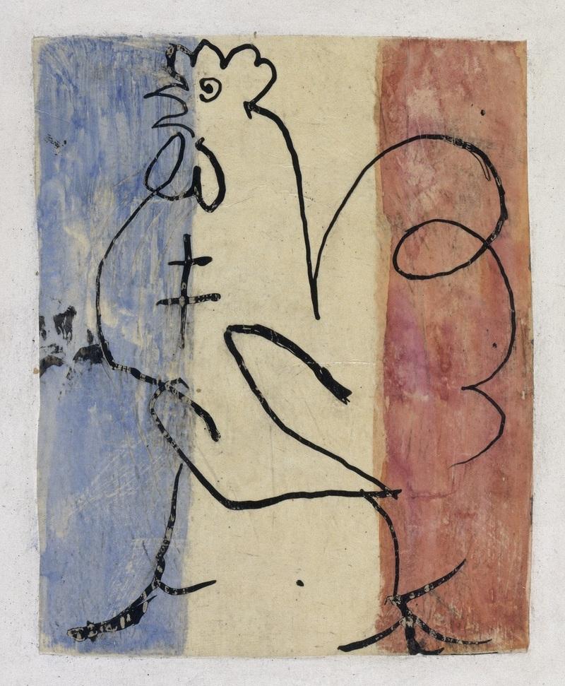 Pablo Picasso (1881-1973), Coq tricolore à la croix de Lorraine, Paris, Printemps 1945, Paris, Musée national Picasso-Paris, dation Pablo Picasso, 1979