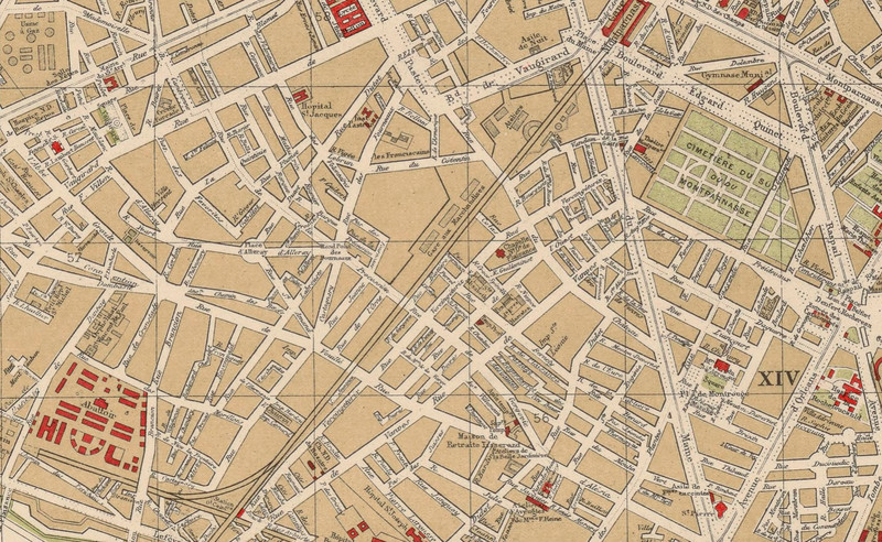 Plan de Paris, Hachette, 1899. Source : Gallica / BNF.