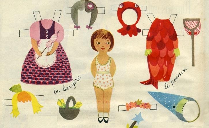 Jacqueline Duhême, Elle, N°483, 1955 «  Petit ELLE petit LUI, poupées à découper pour Mi-Carême »