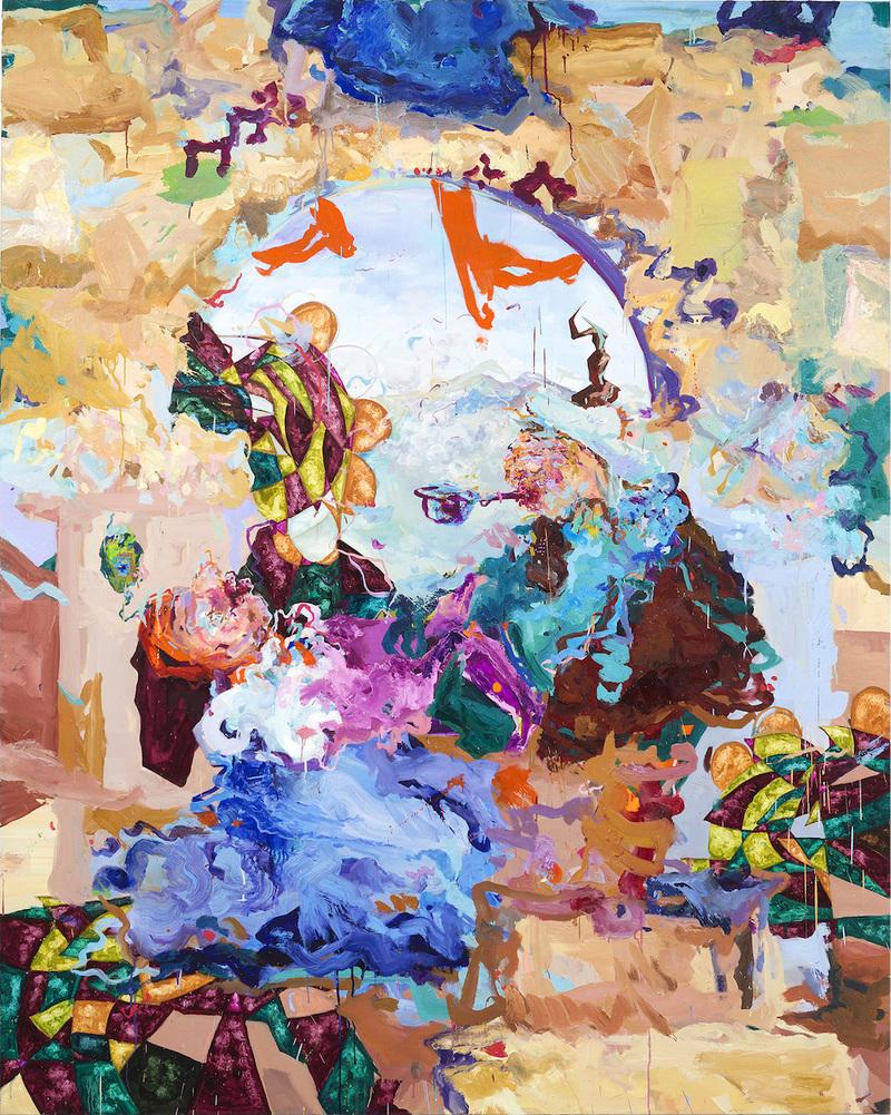 Miryam Haddad, La Chute , 2018. Huile sur toile, 250 × 200 cm. Courtesy de l'artiste et Art:Concept, Paris.