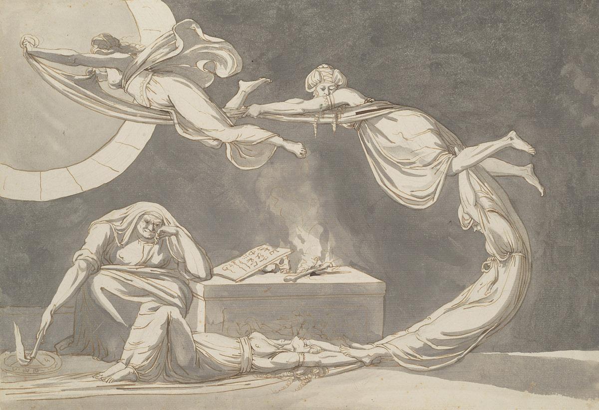 Johann Heinrich Füssli, Scène d'incantation avec une sorcière près de l'autel, avril 1779, Crayon graphite, plume et encre brune et noire, lavis gris sur papier
