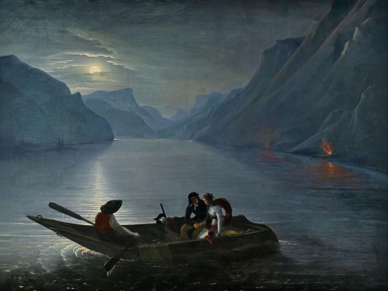 Charles-Édouard Leprince (baron de Crespy), Promenade de Julie et Saint-Preux sur le lac de Genève, 1824, huile sur toile, Montmorency, musée Jean-Jacques Rousseau