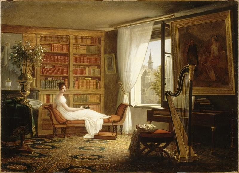 François Louis Hardy de Juinne dit Dejuinne Madame Récamier à l'Abbaye aux-Dames, 1824, huile sur toile, 0,34 x 0,47 cm. Musée du Louvre