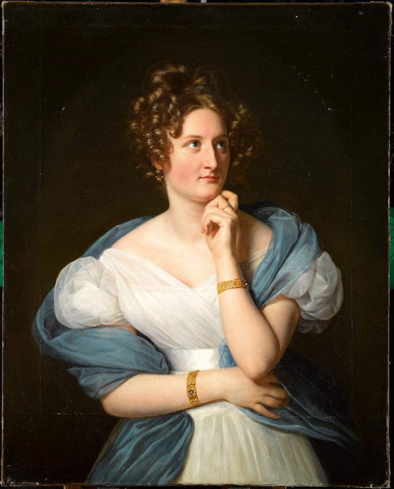 Louis Hersent (1777- 1860) Portrait de Delphine Gay, madame Émile de Girardin, 1824, huile sur toile, 1,02 x 0,82 cm. Châteaux de Versailles et Trianon