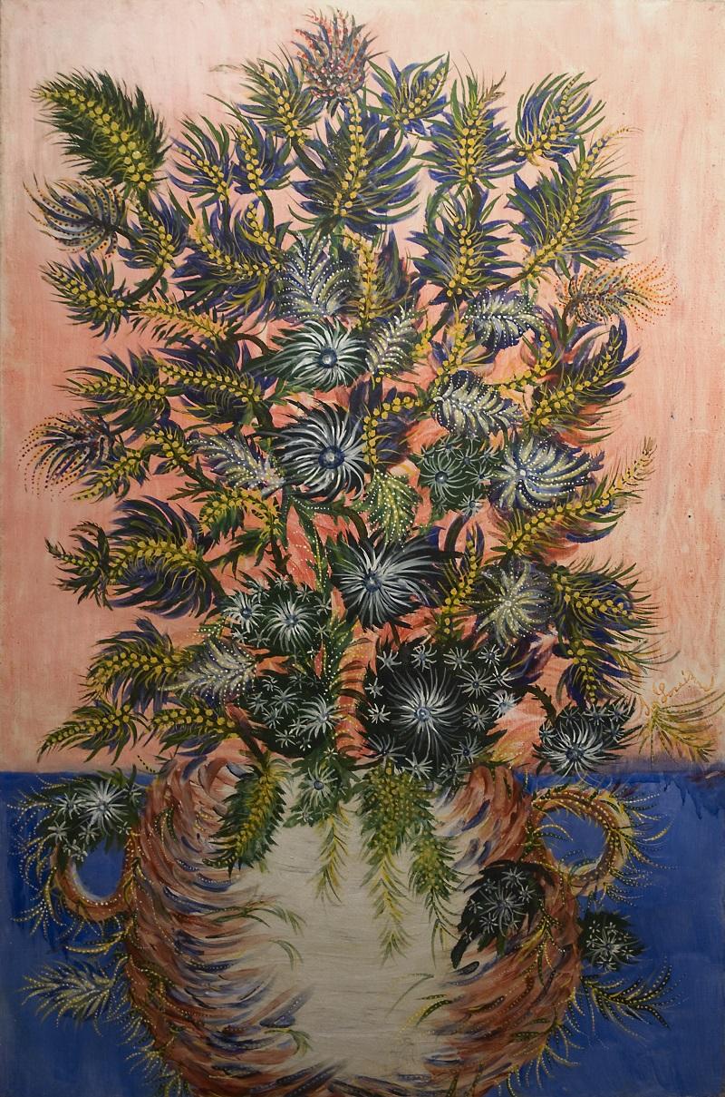 Séraphine Louis, dite Séraphine de Senlis,  Bouquet de mimosas Non daté Huile sur toile 147,5 x 98 cm Coll. Musée d'Art Naïf et d'Arts Singuliers, Laval Cliché Ville de Laval