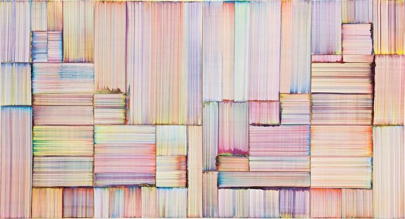 Bernard Frize LedZ, 2018 Acrylique et résine sur toile 280,5 × 522,5 cm Courtesy Perrotin & Bernard Frize photo