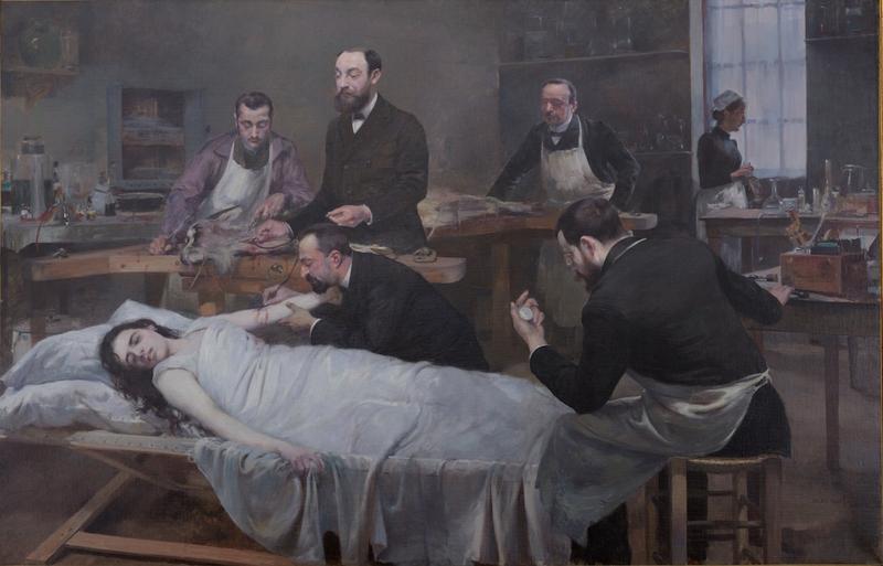 La Transfusion du sang de chèvre 1892 Huile sur toile Paris, université Paris Descartes, musée d'histoire de la médecine Photo Alain Leprince