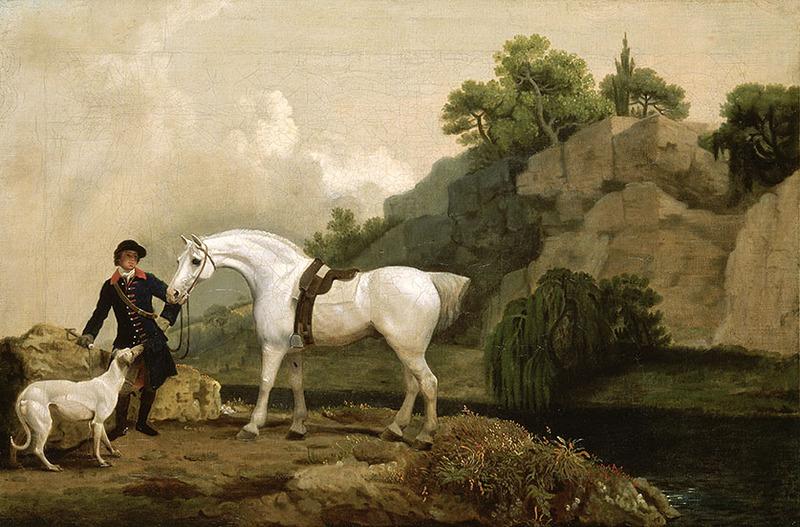 George Stubbs Un Hunter gris avec un palefrenier et un lévrier à Creswell Crags vers 1762-1764 huile sur toile 44,5 × 67,9 cm Acheté en 1895 Royaume-Uni, Londres, Tate © Tate 2019