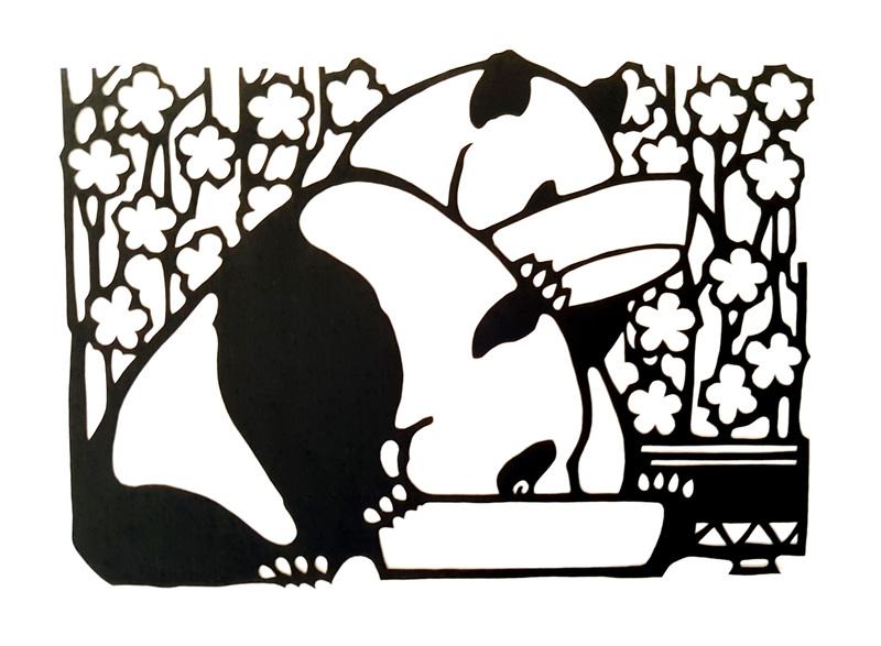 Papier découpé pandas