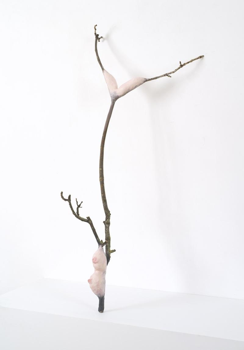 Laure Prouvost (née en 1978) Parle Ment Branches (1) et Parle Ment Branches (2), 2017. Branches, plâtre, peinture, 160 x 90 cm. Paris, galerie Nathalie Obadia Courtesy de l'artiste et Galerie Nathalie Obadia, Paris / Bruxelles