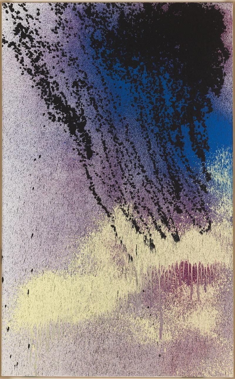Hans Hartung, T1989-K36, 1989 Acrylique au pistolet sur toile 162 x 100 cm