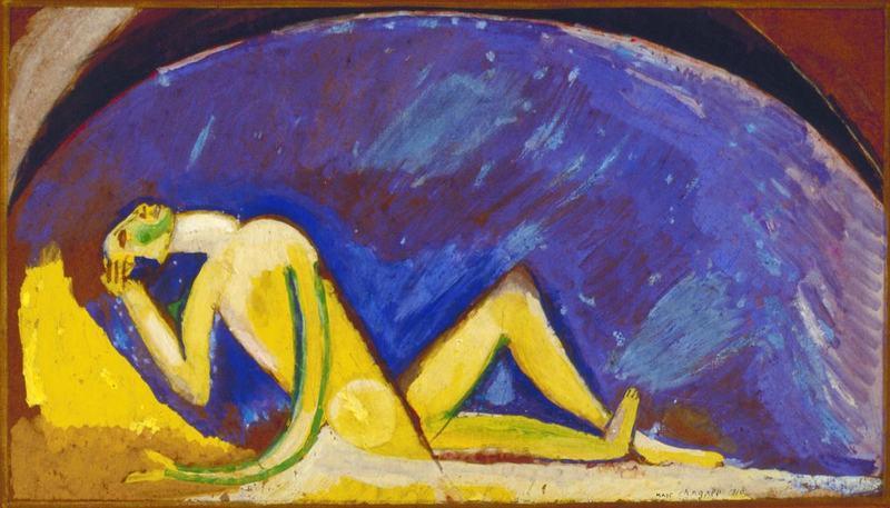 Chagall, (1887-1985). Personnage devant la voûte bleue, 1911, gouache sur papier Collection particulière