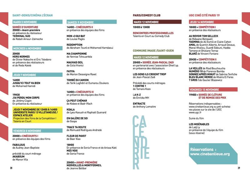 Calendrier du programme 2019
