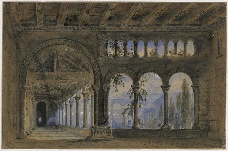 Esquisse de décor pour Robert le Diable, acte III, tableau 2, opéra en cinq actes de Giacomo Meyerbeer, 1831