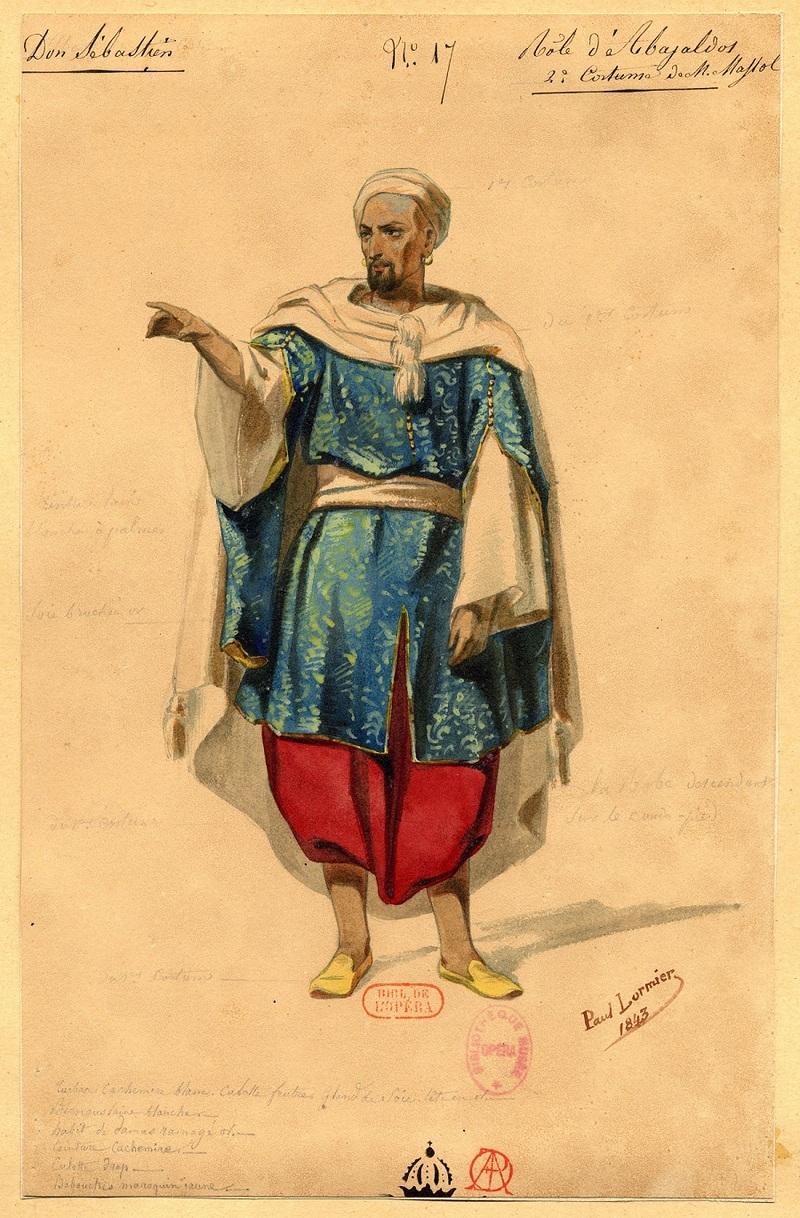Esquisse de costume pour Abayaldos dans Dom Sébastien, roi du Portugal de Gaetano Donizetti, 1843