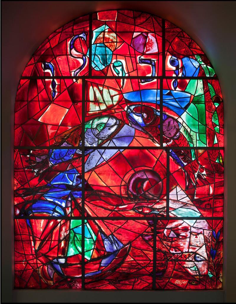 Marc Chagall, La Tribu de Zabulon,1962, Vitrail de la Synagogue de l'hôpital Hadassah de Jérusalem