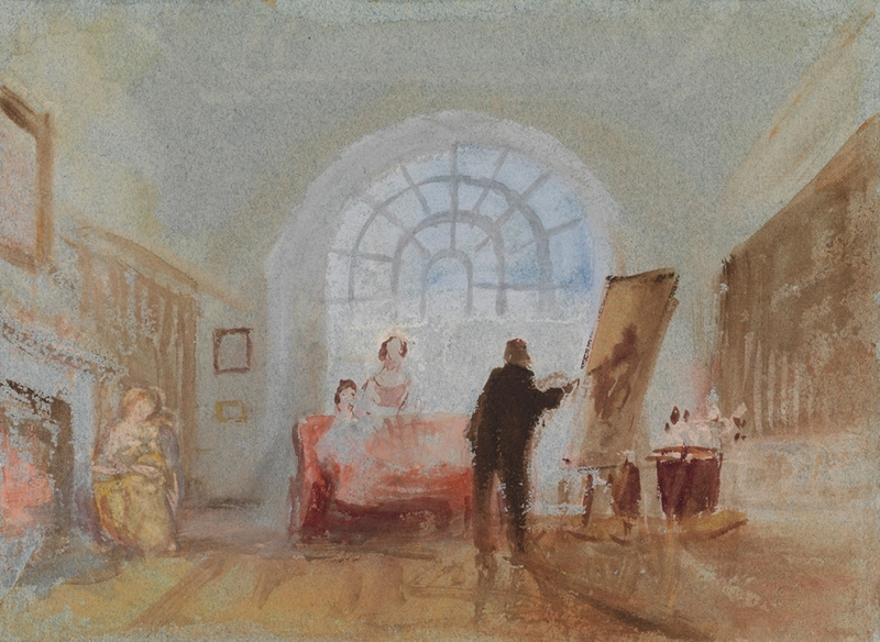 L'Artiste et ses admirateurs, 1827, aquarelle et pigments opaques sur papier, 13,8 x 19 cm, Tate, accepté par la nation dans le cadre du legs Turner 1856 -