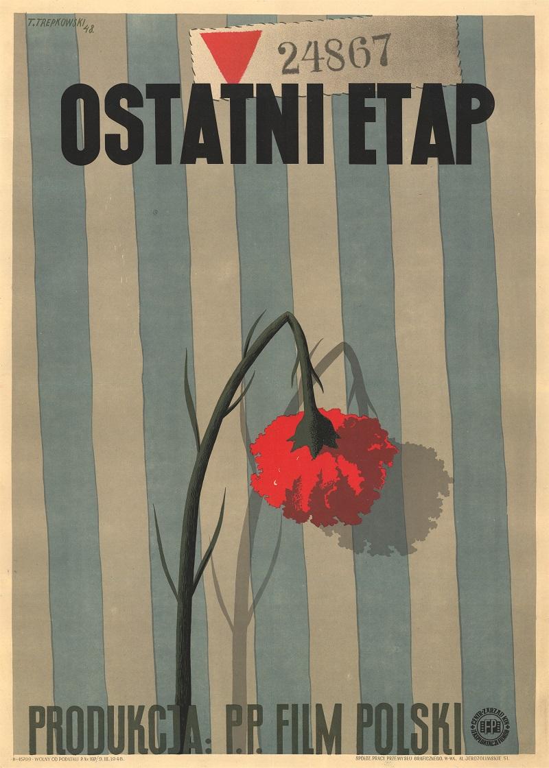 Affiche originale du film Ostani Etap [La dernière étape] de Wanda Jakubowska. Pologne, 1948.