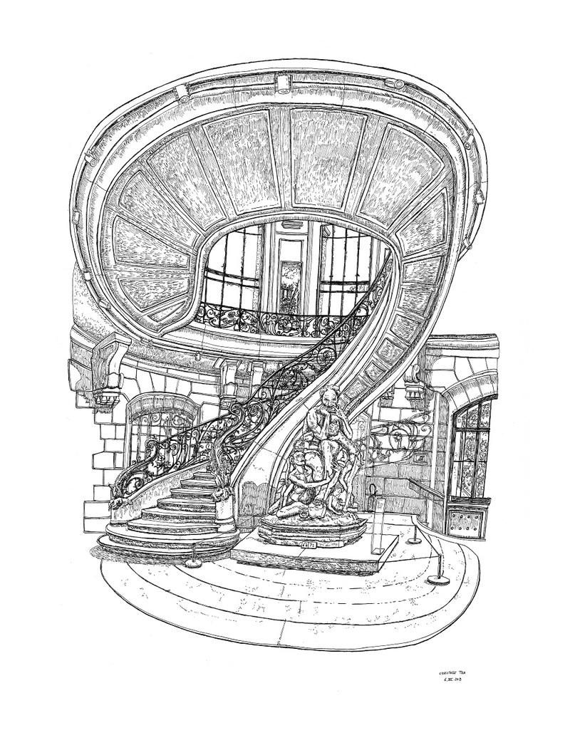 L'Escalier, Petit Palais, 6.XI.2019. Encre de Chine sur papier, 65 x 50 cm.