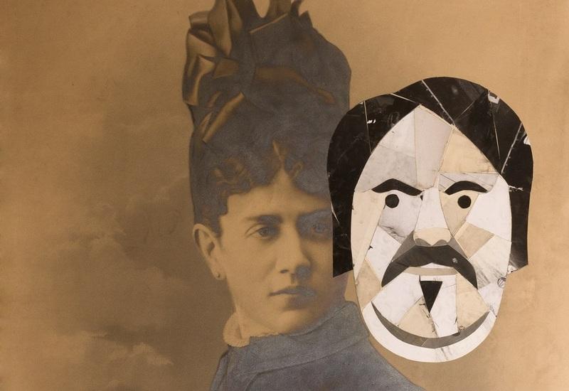 Eduardo Arroyo, Balzac et Madame Hanska, 2014, collage sur photographie, Collection Eduardo Arroyo