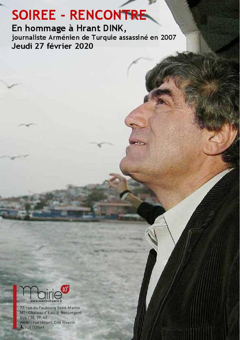 Flyer Invitation hommage à Hrant Dink