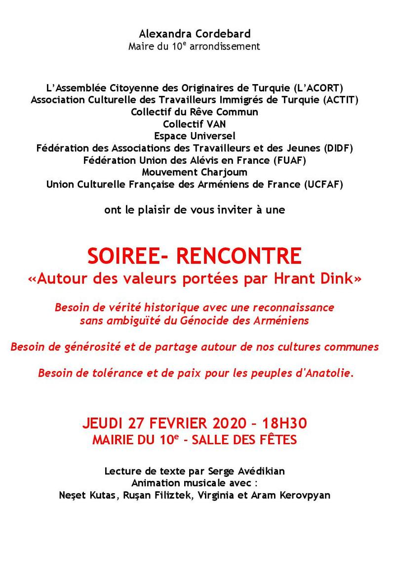 Flyer Invitation hommage à Hrant Dink2