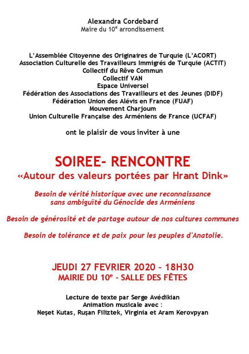 Flyer Invitation hommage à Hrant Dink2