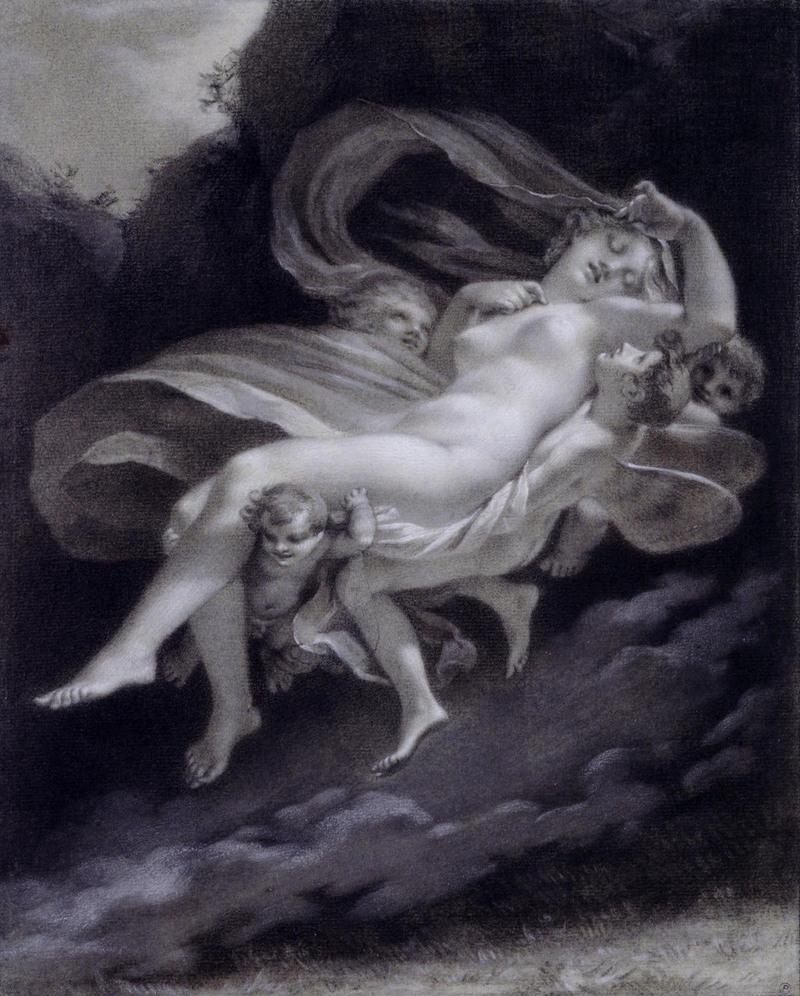 Psyché enlevée par les Zéphyrs, XIXe siècle. Pierre noire, réhauts de blanc sur papier bleu, 33 x 17 cm, Collection Prat.