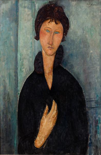 Femme aux yeux bleus d' Amedeo Modigliani Vers 1918 Peinture à l'huile Musée d'Art moderne de la Ville de Paris AMVP 1681 CC0 Paris Musées / Musée d'art moderne de la Ville de Paris