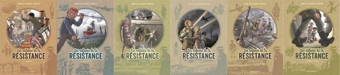 montage photos avec les premières de couverture des six premiers tomes des enfants de la Résistance