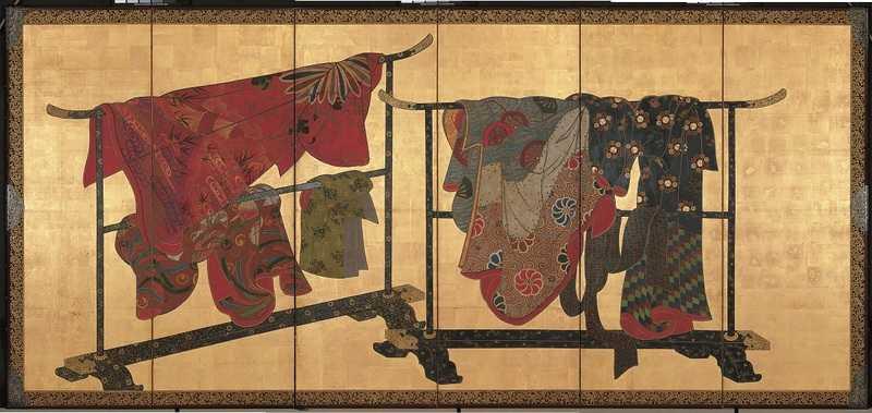 Paravent à six panneaux représentant des kimonos suspendus (tagasode)