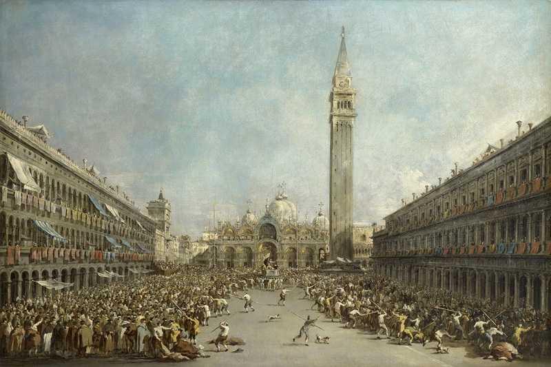 le Doge de Venise porté par les gondoliers après son élection sur la place Saint-Marc