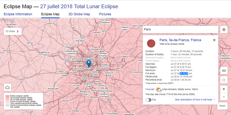 Eclipse map du 27 juillet 2018