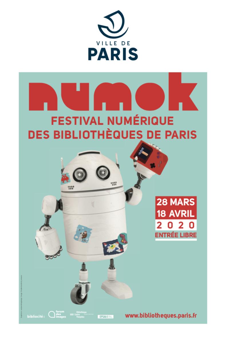 affiche de NUMOK, festival numérique des bibliothèques de la Ville de Paris