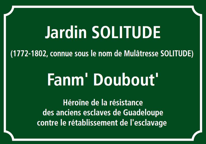 Commémoration de l'esclavage, Jardin Solitude